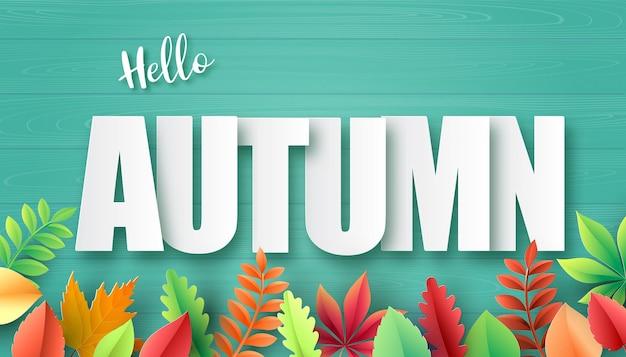 Papier knippen van de herfst, esdoorn bladeren op de achtergrond. vector illustratie.