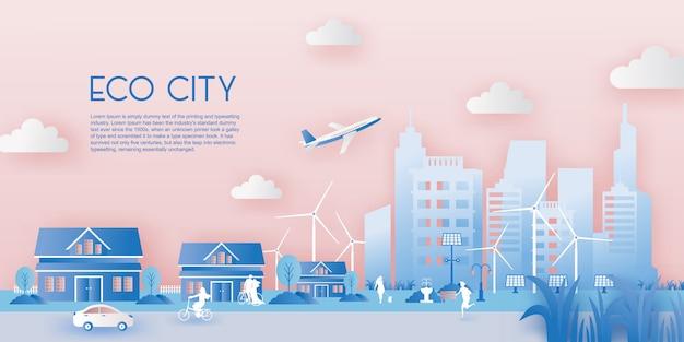 Papier knippen van eco stad concept