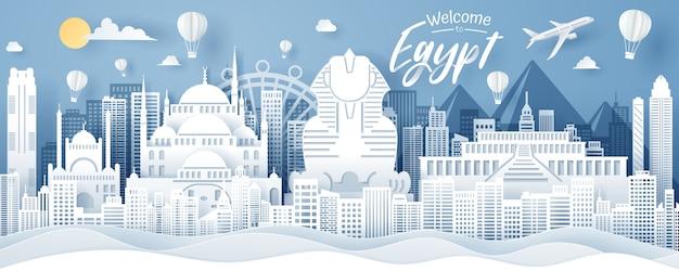 Papier knippen van egypte landmark, reizen en toerisme concept.