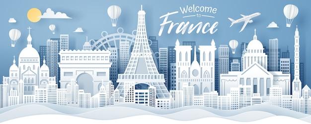 Papier knippen van frankrijk landmark, reizen en toerisme concept.