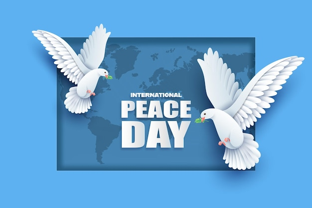 Papier knippen van internationale dag van de vrede.