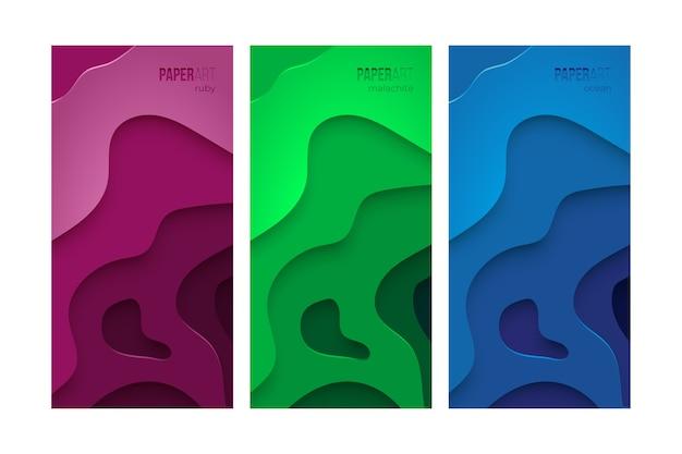 Papier kunst achtergrond set, violet, groen en blauw sjablonen voor ontwerp.