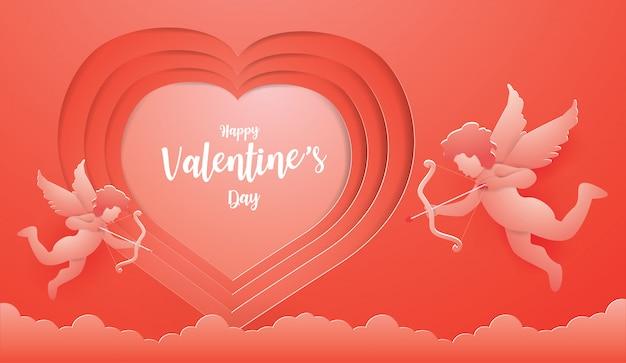 Papier kunst en illustratie valentijn stijl.