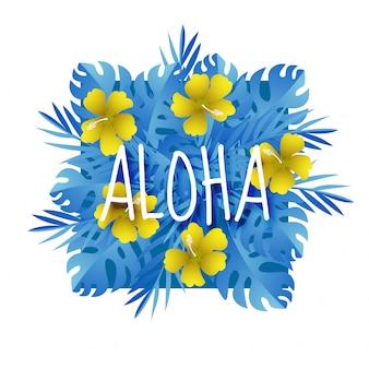 Papier kunst met aloha zomer seizoen sjabloon ontwerp vector
