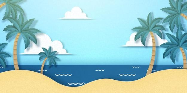 Papier kunst stijl zomer resort strand achtergrond
