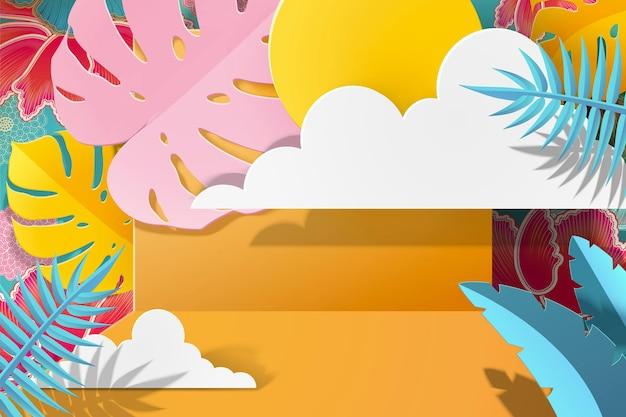 Papier kunst tropische gebladerte achtergrond met zon in gele en blauwe toon, 3d illustratie