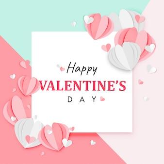 Papier kunst van happy valentine's day achtergrond origami hart vorm ontwerp vector
