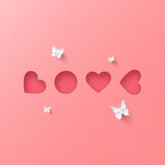 Papier kunst van roze ansichtkaart met hart vorm gerangschikt om woord love