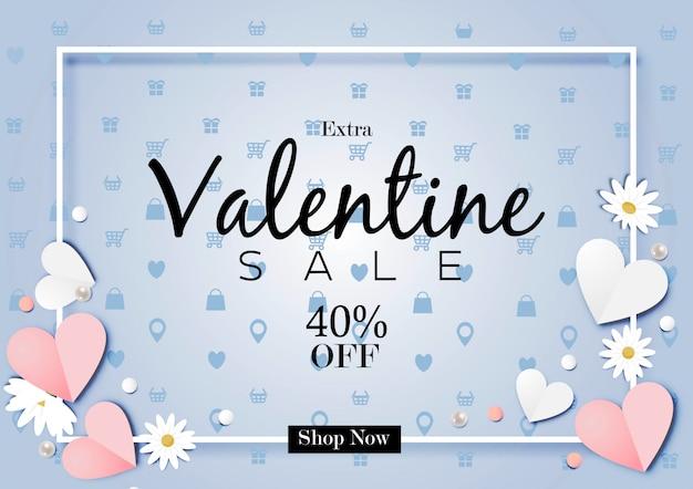 Papier kunst van valentijnsdag verkoop uit achtergrond vector