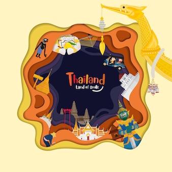 Papier kunststijl met thailand en bezienswaardigheden