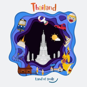 Papier kunststijl met thailand land van glimlach