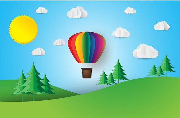 Papier kunststijl origami maakte kleurrijke luchtballonwolk