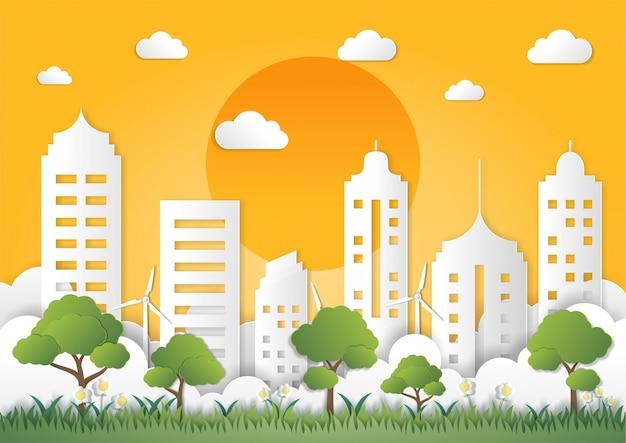 Papier kunststijl van landschap met eco groene stad