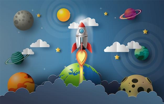 Papier kunststijl van raket vliegen in de ruimte
