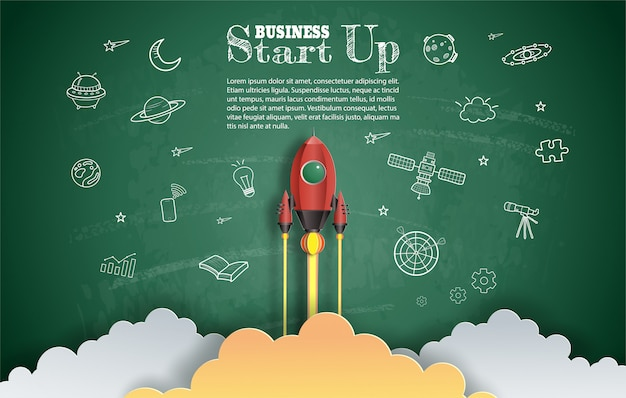 Papier kunststijl van raket vliegen met ruimte en start-up doodles.