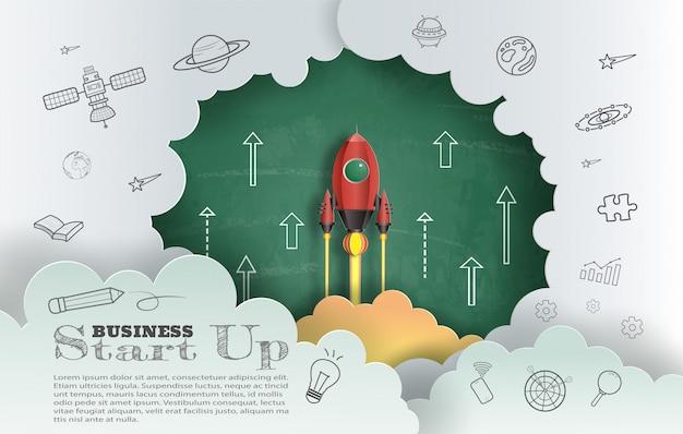 Papier kunststijl van raket vliegen met schoolbord achtergrond