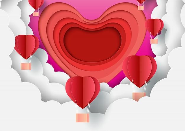 Papier kunststijl van valentijnsdag wenskaart