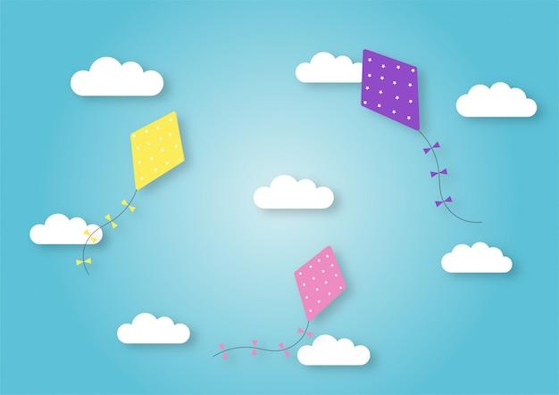 Papier kunststijl vliegers vliegen in de hemelachtergrond.