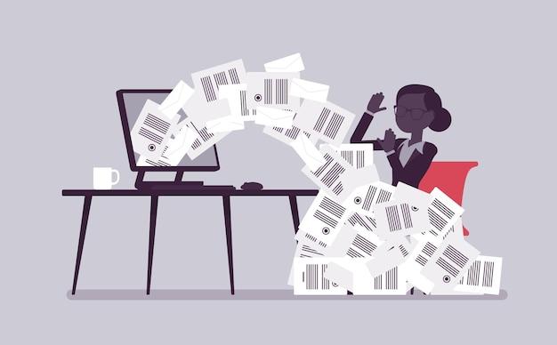 Papier lawine voor zakenvrouw. vrouwelijke kantoormedewerker overladen met papierwerk van computer, hoop zakelijke brieven en online documenten, drukke klerk. vectorillustratie met anonieme karakters