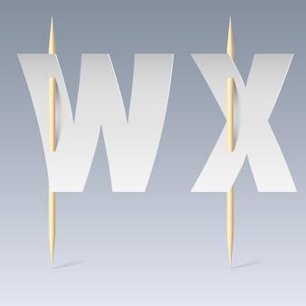 Papier lettertype op tandenstokers illustratie