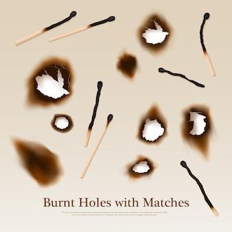 Papier met verbrande gaten en lucifers