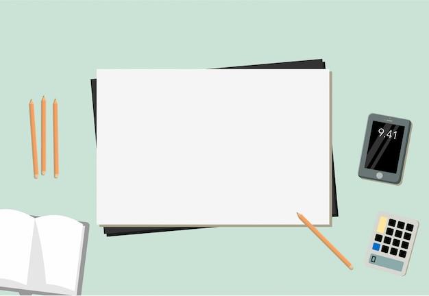 Papier mobiel potlood boek en rekenmachine met blauwe achtergrond