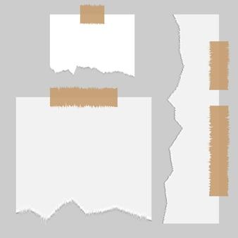 Papier notepage fragment, gescheurde rand textuur. gescheurde rand banner fragment collectie met schaduw.