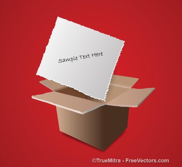 Papier opmerking over kartonnen doos
