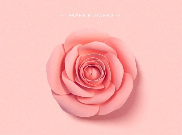 Papier roze rozen in 3d-stijl, bovenaanzicht
