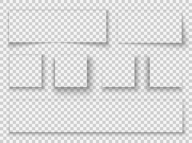 Papier schaduw. elementen transparant realistisch schaduwen frame pagina scheidingslijn rand tabblad webbanner sjabloon mockup grens