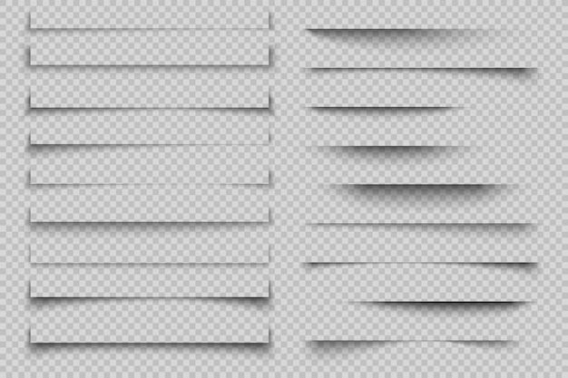Papier schaduweffect. transparante realistische pagina schaduwen met hoeken, banner poster flyer schaduwen met hoeken. sjabloon