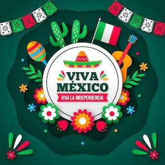 Papier stijl achtergrond independencia de méxico