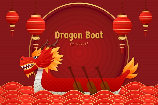 Papier stijl drakenboot achtergrond