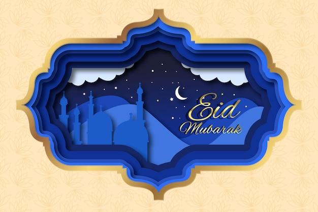 Papier stijl happy eid mubarak nachtelijke hemel