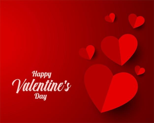 Papier stijl hart valentijnsdag ontwerp