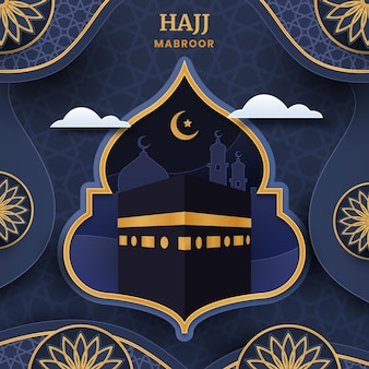 Papier stijl islamitische hadj bedevaart illustratie