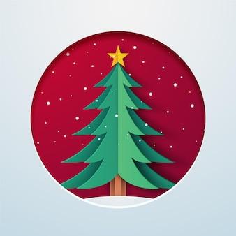 Papier stijl kerstboom illustratie