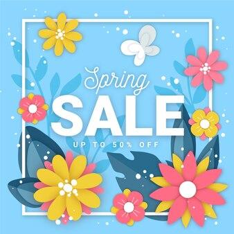 Papier stijl lente met verkoop