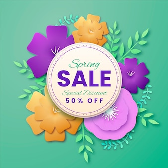 Papier stijl lente verkoop met bloemen