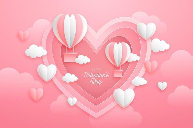 Papier stijl valentijnsdag achtergrond