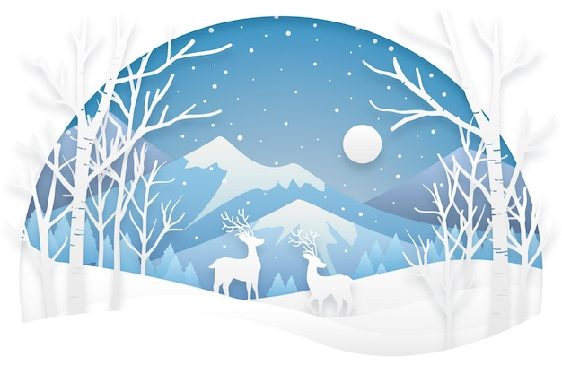 Papier stijl winter achtergrond