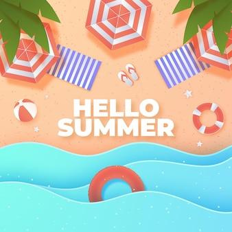 Papier stijl zomer achtergrond op het strand