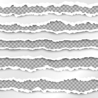 Papier textuur met beschadigde rand geïsoleerd op transparante achtergrond