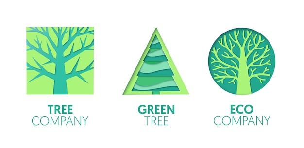Papier uitgesneden logo sjabloon set met groene bomen. origami eco company symbolen voor branding, brochure, identiteit. vector illustratie