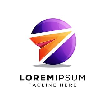 Papier vliegtuig met cirkel logo of logo