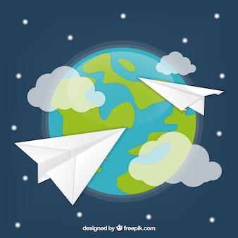 Papier vliegtuigen over de hele wereld