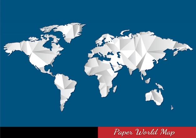 Papier wereldkaart in origami-stijl