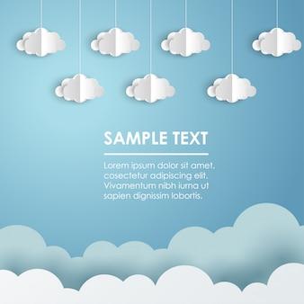 Papier wolken en weer op blauw