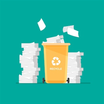 Papierafval in urn recycle-pictogram grote stapels papieren bak voor recycling met gesorteerd afval