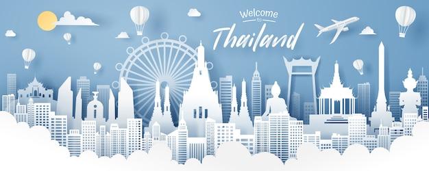 Papierbesnoeiing van het oriëntatiepunt, de reis en het toerismeconcept van thailand.